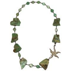 Italian Natural Aquamarine and Sterling Silver Starfish Necklace