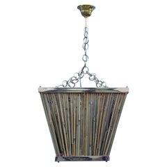 Italian Naturalistic Lantern Chandelier 1970s Bamboo Brass Gold Crespi style