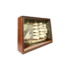 Italian Nautical Diorama Glass and Wood, 1904