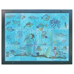 "Italian Nautical Tile Wall Plaque / Art ""Fish Tank"""