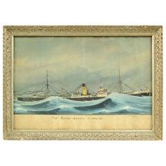 Genoa April 1927 Italian Nautical Ex Voto Votive Painting by Giovanni Luzzo