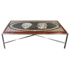 Italian Neo-Classic Mosaic Roman Face Design and Chrome Base Coffee Table