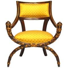 Italian Neo-Classic Style '19th Century' X Design Armchair
