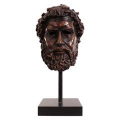 Italian Neoclassic Style Bronze Poseidon Bust, 1stdibs New York