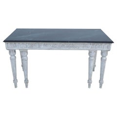 Italian Neo-classic Style White Carved Wood and Green Faux Marble Topped Console