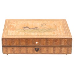 Italian Neoclassical Straw Marquetry Sewing Box, Early 19th Century