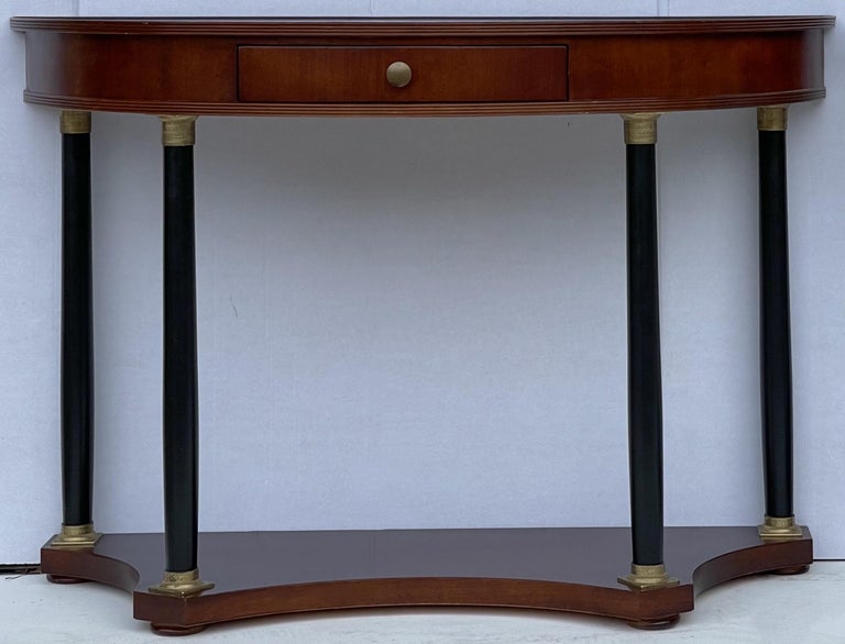 Late 20th Century Italian Neo-Classical Style Console Tables by Decorative Crafts, a Pair For Sale
