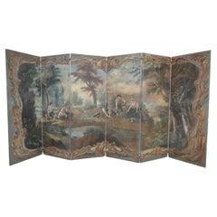 Italian Neo-Classical Style Landscape Painting 6-Paneled Folding Screen