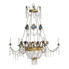 Italian Neoclassic Brass and Blue Glass 6-Light Chandelier
