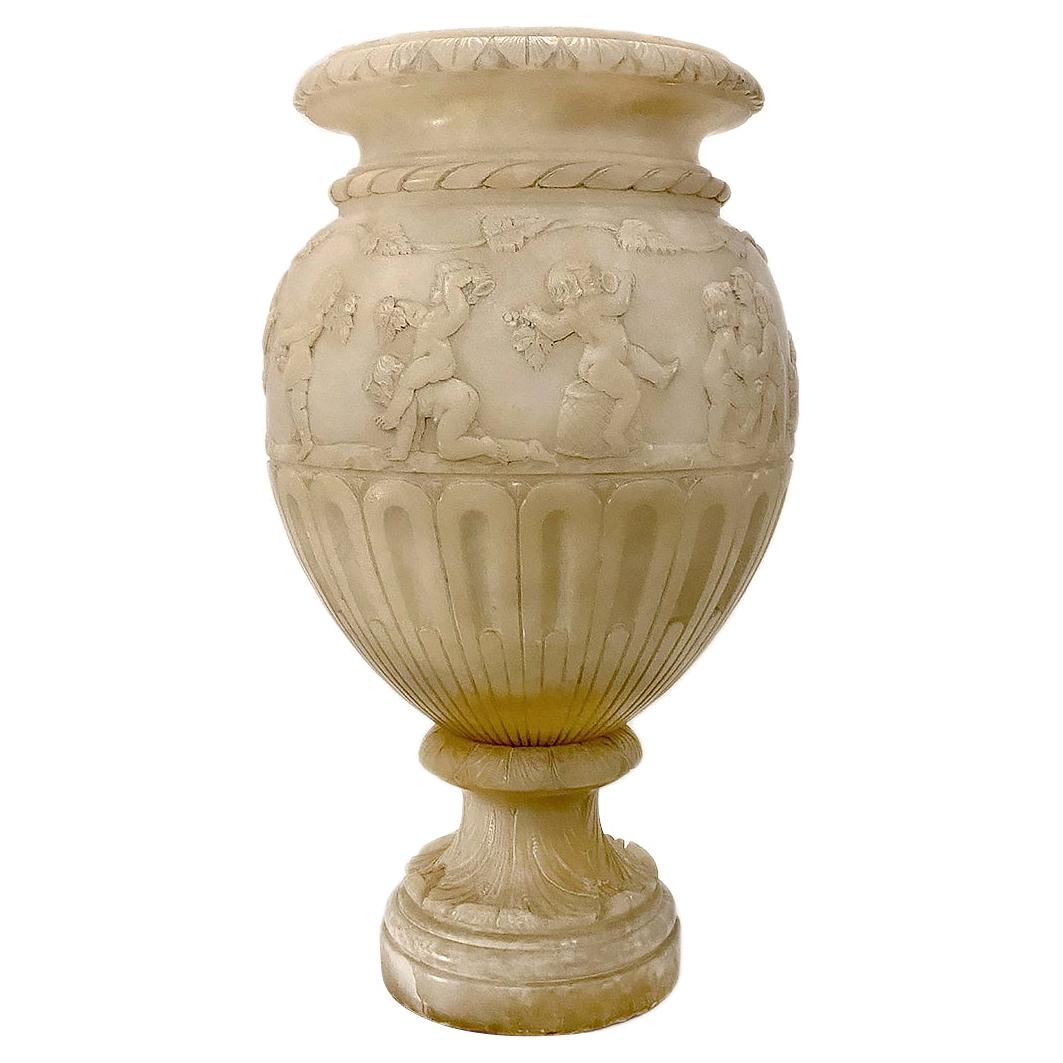 Italian Neoclassic Carved Alabaster Table Lamp