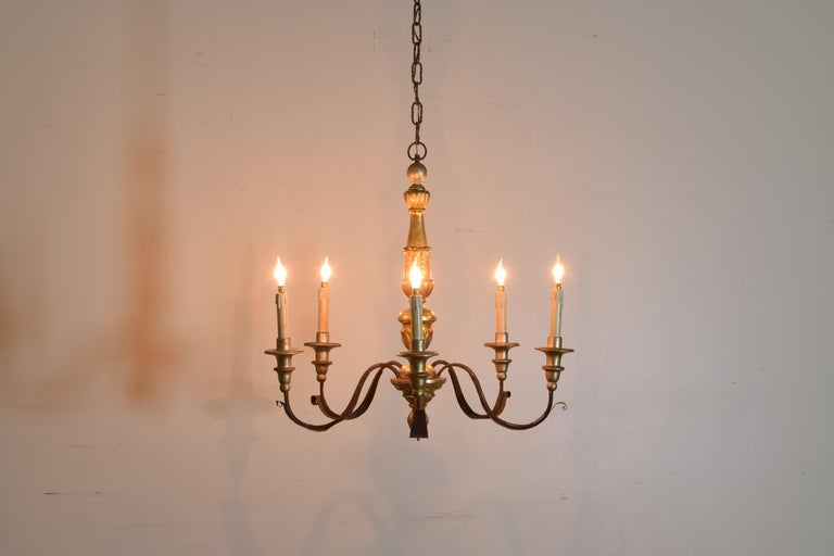 Neoclassical Italian Neoclassic Giltwood and Silvered 5-Light Chandelier For Sale
