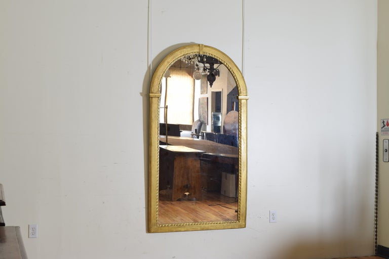 Neoclassical Italian Neoclassic Giltwood Arched Top Wall Mirror, circa 1800 For Sale