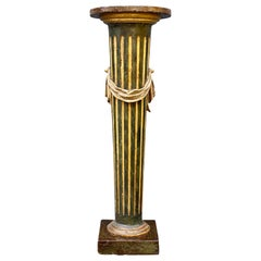 Italian Neoclassic Green Painted and Giltwood Pedestal