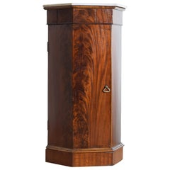 Italian Neoclassic Mahogany and Marble Top Hexagonal Pedestal Cabinet, ca. 1830