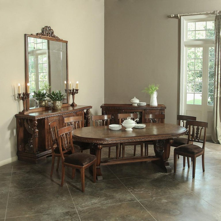 Italian Neoclassic Oval Walnut Dining Table For Sale 4