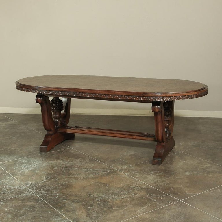 Empire Italian Neoclassic Oval Walnut Dining Table For Sale