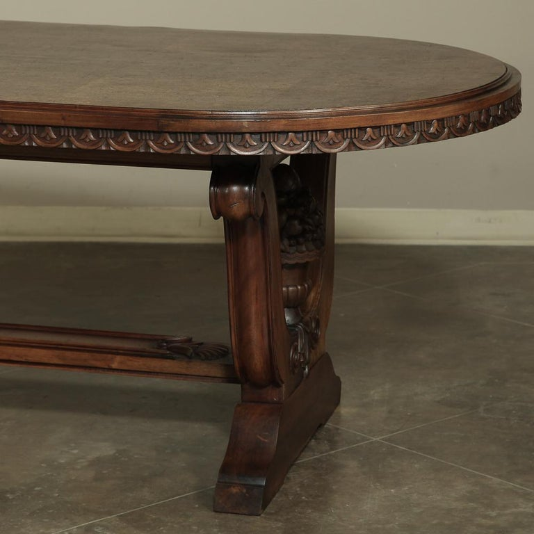 Hand-Crafted Italian Neoclassic Oval Walnut Dining Table For Sale