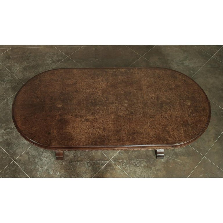 Italian Neoclassic Oval Walnut Dining Table For Sale 3