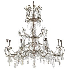 Italian Neoclassic Silver Gilt, Iron, and Glass 8-Light Chandelier