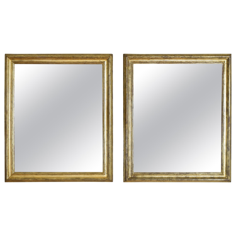Italian Neoclassic Silver Gilt Mirrors, Second Quarter of the 19th Century, Pair