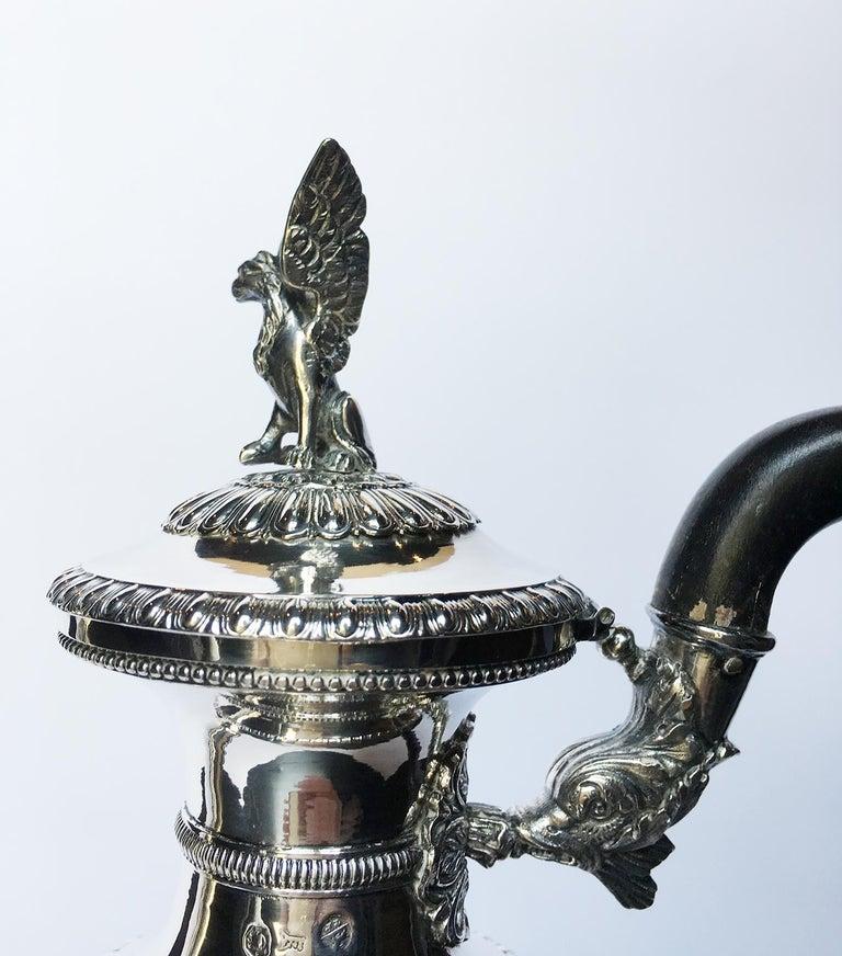 Italian Neoclassic Sterling Silver Coffee Pot, Milan, circa 1850 For Sale 8