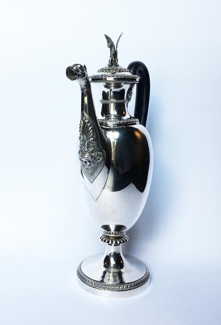 Neoclassical Italian Neoclassic Sterling Silver Coffee Pot, Milan, circa 1850 For Sale