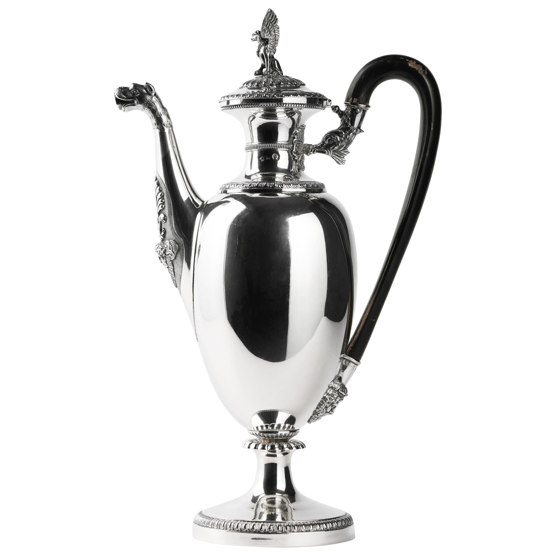 Italian Neoclassic Sterling Silver Coffee Pot, Milan, circa 1850