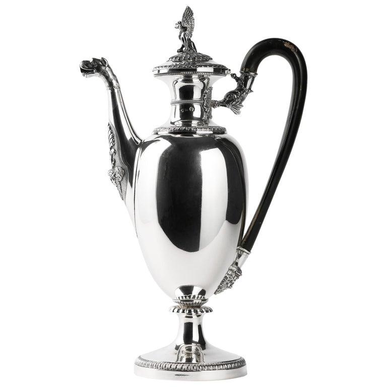 Italian Neoclassic Sterling Silver Coffee Pot, Milan, circa 1850 For Sale
