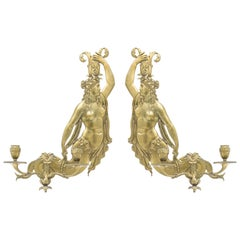 Italian Neoclassic Style Bronze Mermaid Wall Sconces