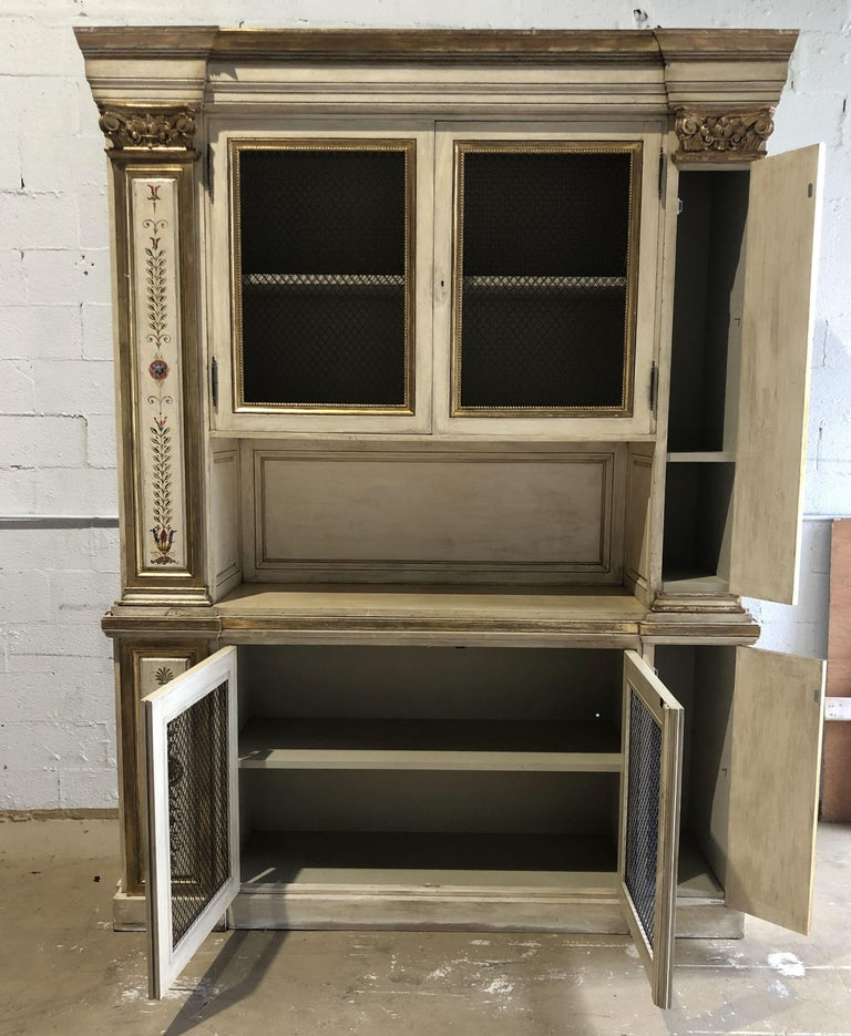 Neoclassical Italian Neoclassic Style Cream Painted and Parcel-Gilt Breakfront/ Bookcase For Sale