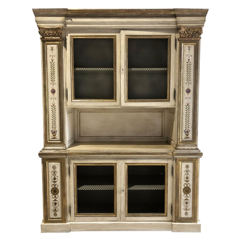 Italian Neoclassic Style Cream Painted and Parcel-Gilt Breakfront/ Bookcase For Sale
