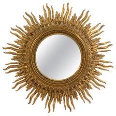 Italian Neoclassic Style Giltwood Sunburst Wall Mirror