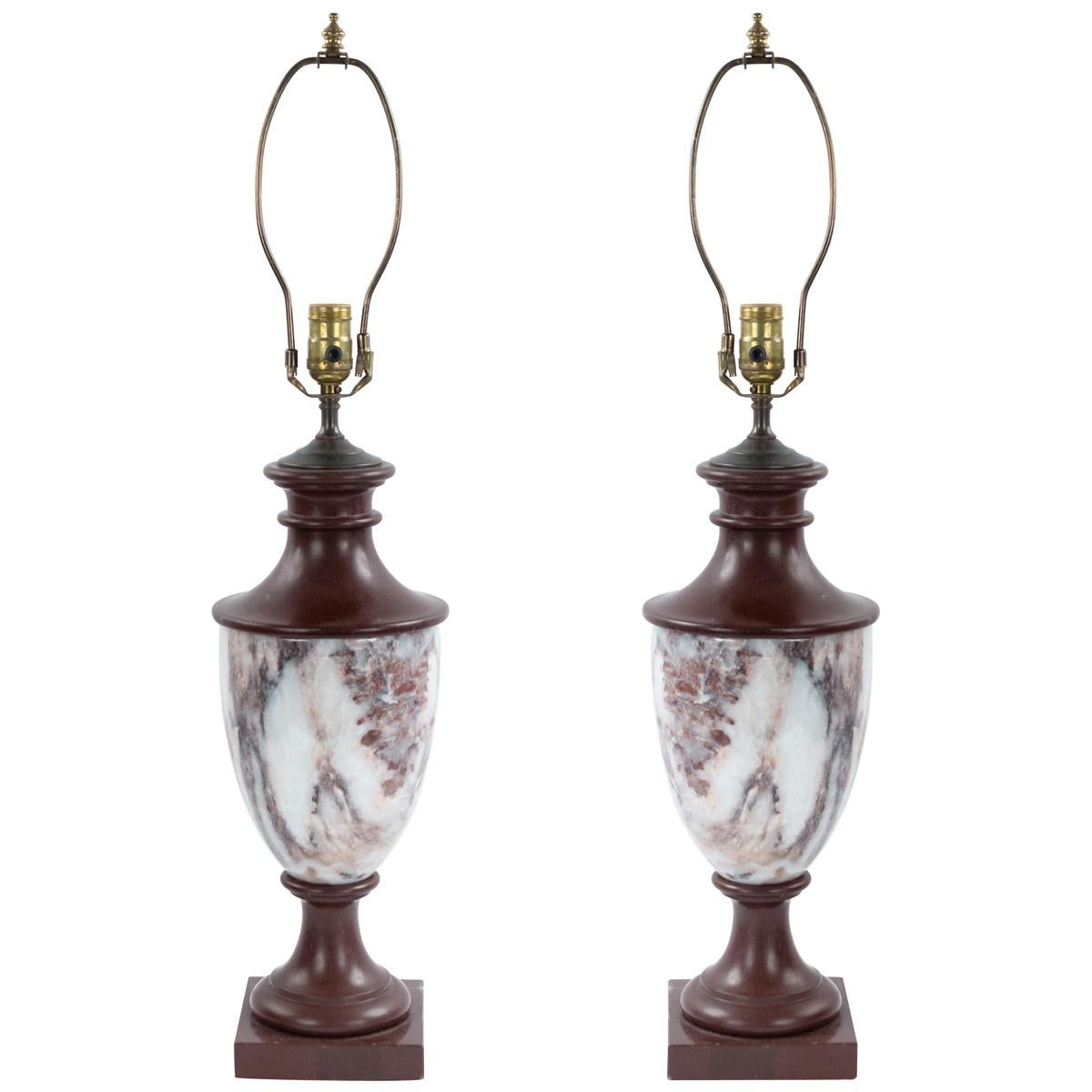 Pair of Italian Neoclassic Style Marble Urn Table Lamps