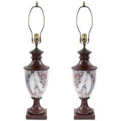 Italian Neoclassic Style Marble Urn Table Lamps