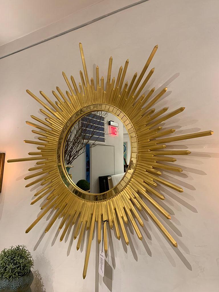 North American Italian Neoclassic Style 'Modern' Giltwood Sunburst Round Mirrors For Sale
