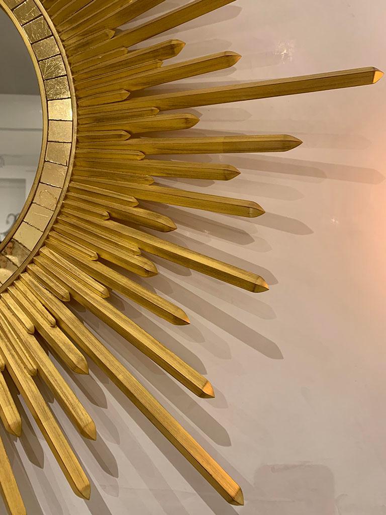 Contemporary Italian Neoclassic Style 'Modern' Giltwood Sunburst Round Mirrors For Sale
