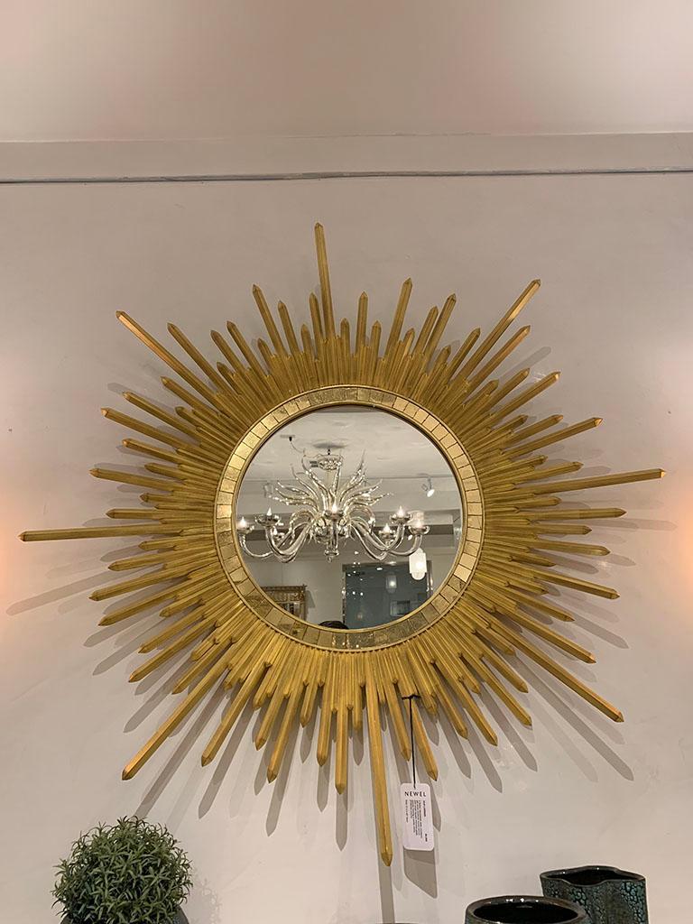 Neoclassical Italian Neoclassic Style 'Modern' Giltwood Sunburst Round Mirrors For Sale