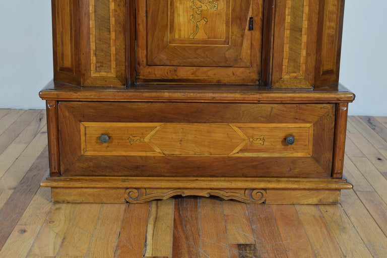 Italian Neoclassic Walnut and Mixed Woods Veneered Piccolo Credenza 19th Century 11