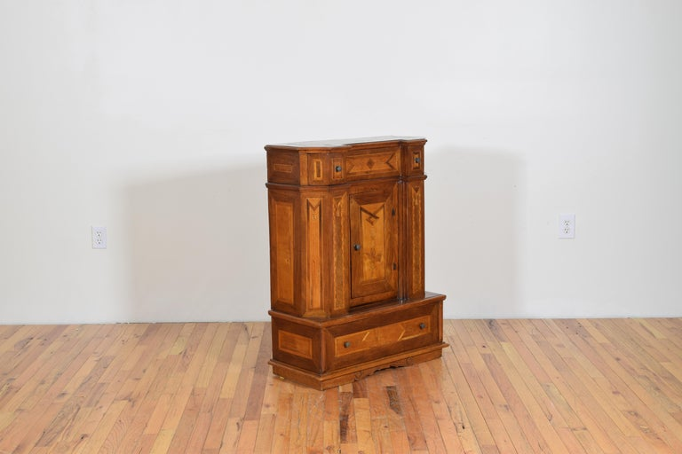 Italian Neoclassic Walnut and Mixed Woods Veneered Piccolo Credenza 19th Century 3