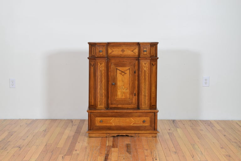 Italian Neoclassic Walnut and Mixed Woods Veneered Piccolo Credenza 19th Century 4
