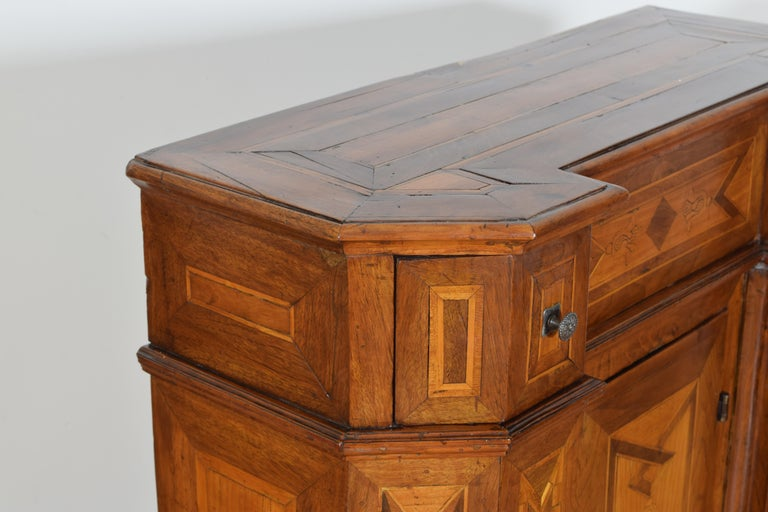 Italian Neoclassic Walnut and Mixed Woods Veneered Piccolo Credenza 19th Century 7