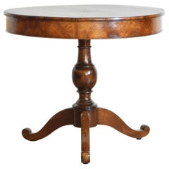 Italian Neoclassic Walnut and Walnut Veneer Circular Table