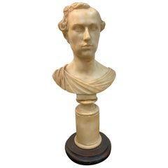 Italian Neoclassical Alabaster Portrait Bust of a Gentleman, by Insom Fece, 1839