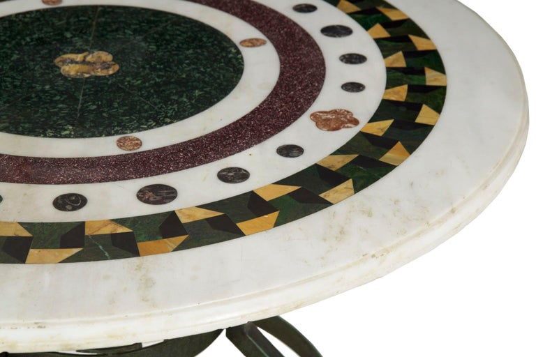 19th Century Italian Neoclassical Antique Pietra Dura Center Table with Bronze Base For Sale