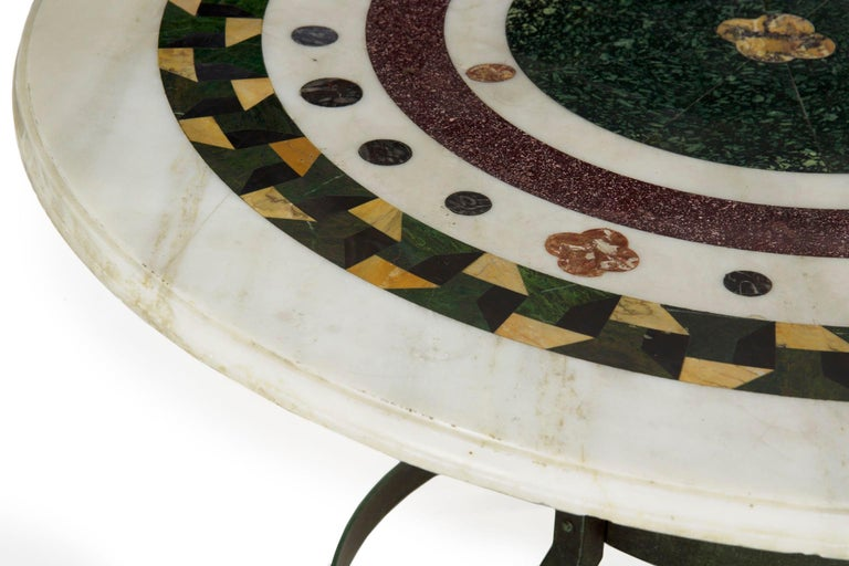 Italian Neoclassical Antique Pietra Dura Center Table with Bronze Base For Sale 1