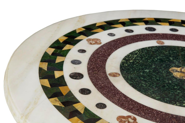 Italian Neoclassical Antique Pietra Dura Center Table with Bronze Base For Sale 2