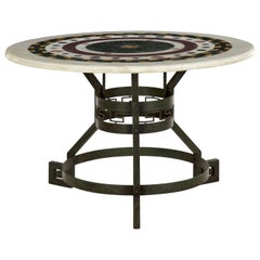 Italian Neoclassical Antique Pietra Dura Center Table with Bronze Base