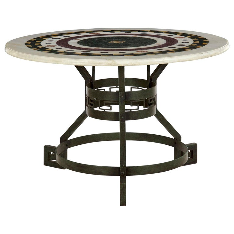 Italian Neoclassical Antique Pietra Dura Center Table with Bronze Base For Sale