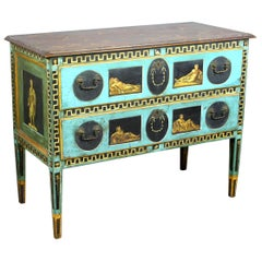 Italian Neoclassical Blue Hand Painted Two-Drawer Chest, Late 19th Century