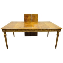 Italian Neoclassical Burl Wood Walnut Gold Giltwood Dining Table with Two Leaves